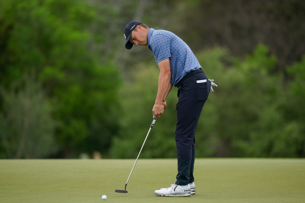 Jordan Spieth putts on hole 2 during the final round of the Valero Texas Open golf tournament April 4, 2021. — Reuters pic
