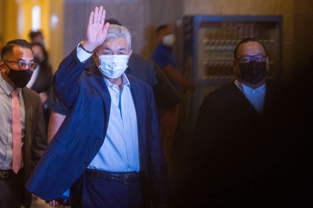 Datuk Seri Ahmad Zahid Hamidi arrives at the Court of Appeal, Putrajaya on April 5, 2021. — Picture by Shafwan Zaidon