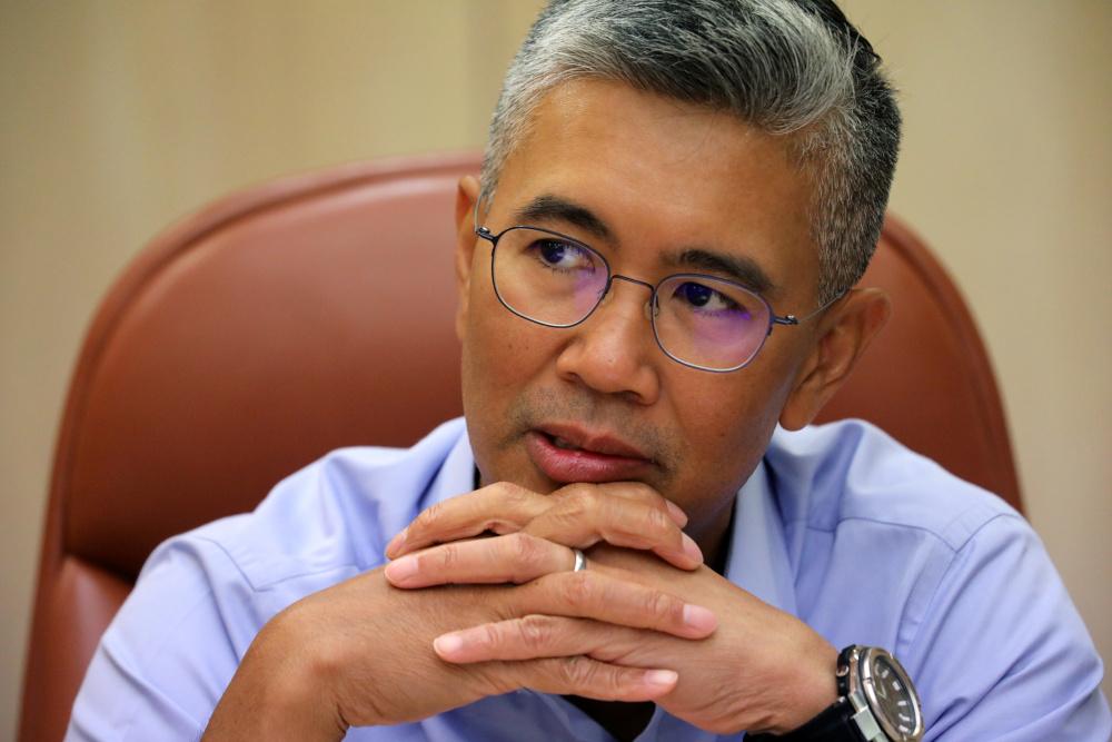 Finance Minister Datuk Seri Tengku Zafrul speaks during an interview with Reuters in Putrajaya, April 5, 2021. — Reuters pic