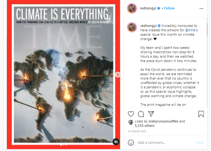 A screenshot of Malaysian contemporary artist Red Hong Yi's Instagram post.