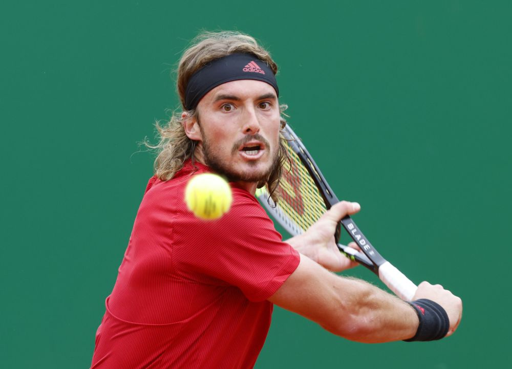 Greece's Stefanos Tsitsipas in action during his semi final match against Britain's Dan Evans at the Monte-Carlo Country Club April 17, 2021. — Reuters pic