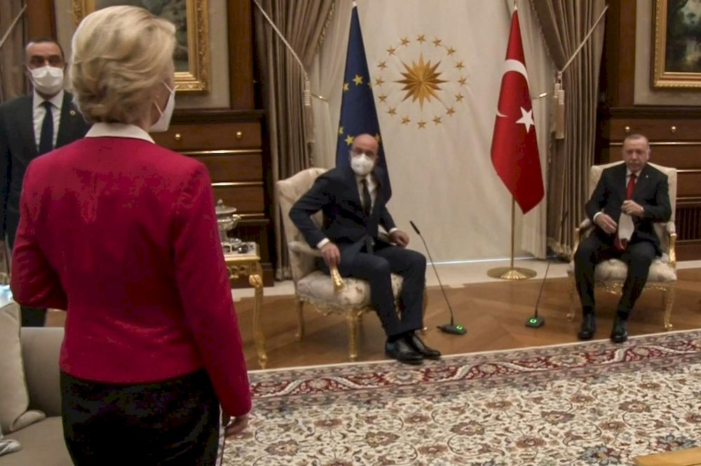 This video frame grab taken from footage released by The Turkish Presidency on April 6, 2021, shows Turkish President Recep Tayyip Erdogan (right) receiving EU Council President Charles Michel (centre) and President of EU Commission Ursula von der Leyen (left) at the Presidential Complex in Ankara. — AFP / Turkish Presidential Press Service