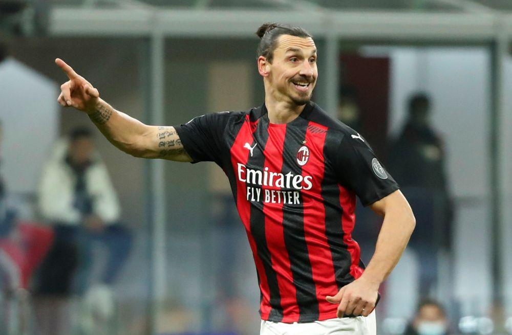 AC Milan's Zlatan Ibrahimovic gestures during the game against Torino at the San Siro, Milan January 9, 2021. — Reuters pic