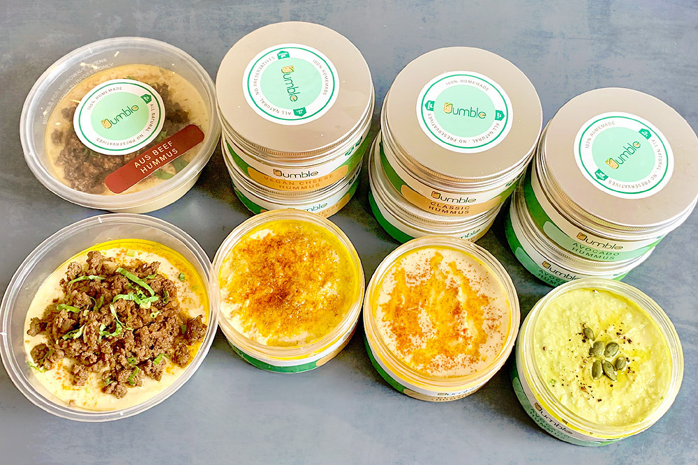 Jumble Hummus has a wide range of flavours to appeal to plant and meat lovers alike.