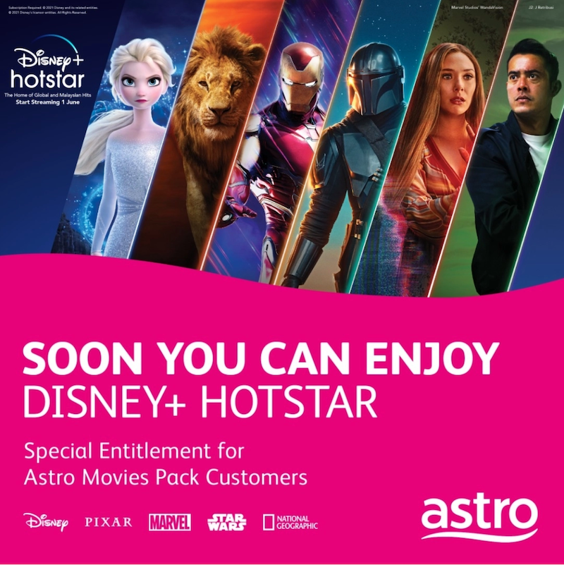 Astro has been appointed as an official distributor and you can enjoy Disney+ Hotstar content with the Movies Pack subscription. — PIcture via SoyaCincau
