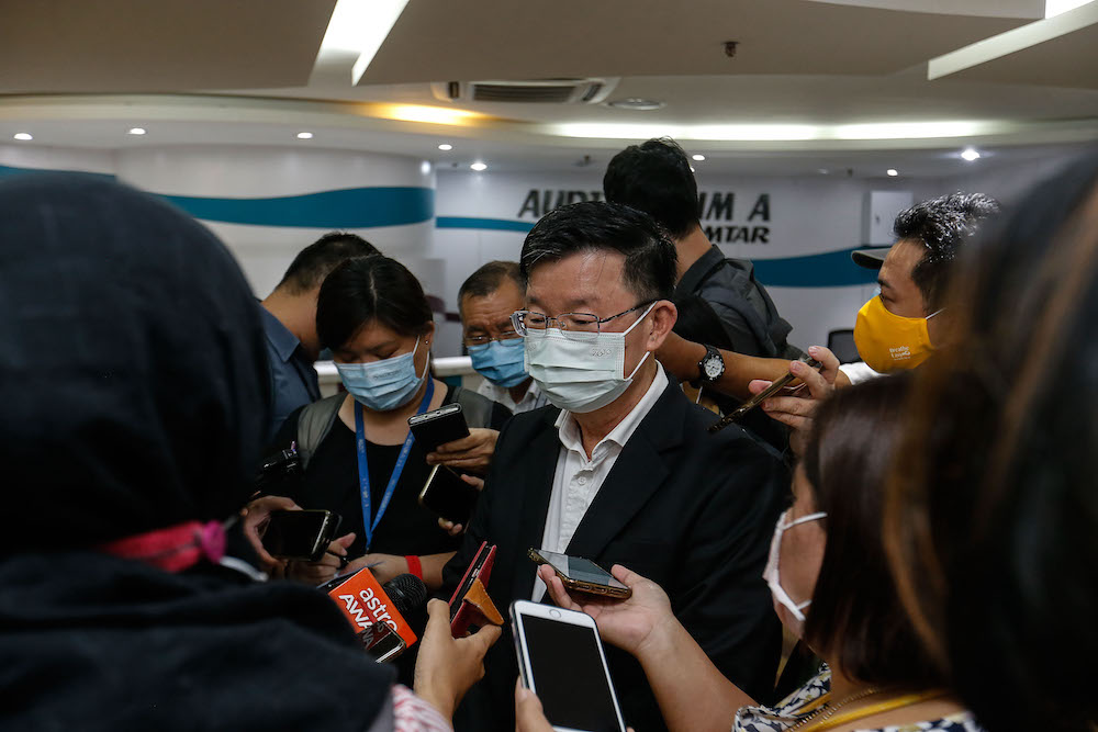 Penang Chief Minister Chow Kon Yeow speaks to the press in Komtar, George Town May 7, 2021. — Picture by Sayuti Zainudin