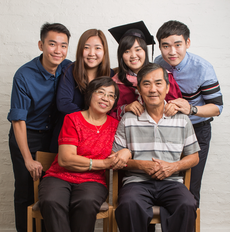 Chong (front row, left) pictured with her family. — Picture courtesy of Fiona Chong Kam Mooi