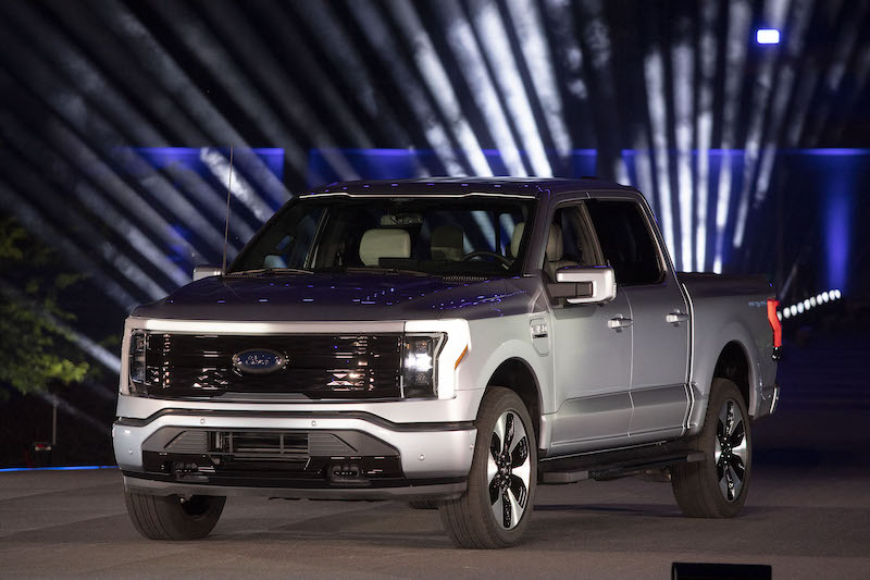 The new all-electric Ford F-150 Lightning performance pickup truck is revealed at a livestream event at Ford World Headquarters on May 19, 2021 in Dearborn, Michigan. — AFP pic