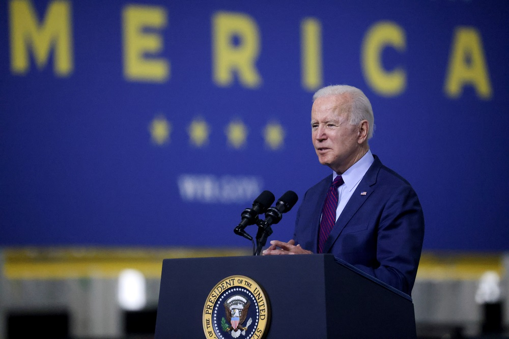 US President Joe Biden delivers remarks after touring Ford Rouge Electric Vehicle Centre in Dearborn, Michigan May 18, 2021. — Reuters pic