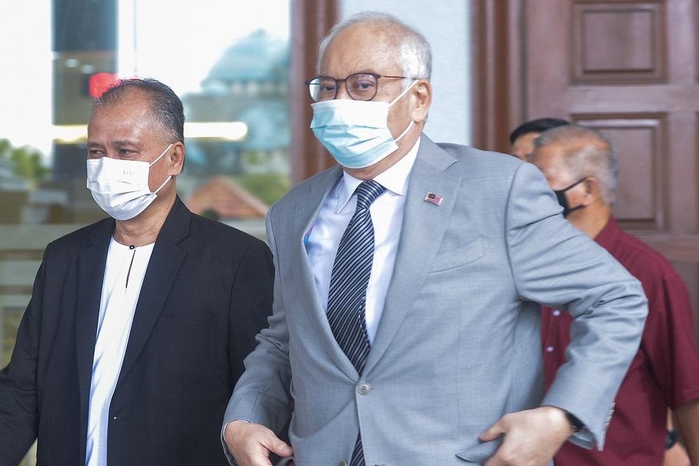 Former prime minister Datuk Seri Najib Razak leaves the High Court in Kuala Lumpur May 17,2021. — Picture by Miera Zulyana