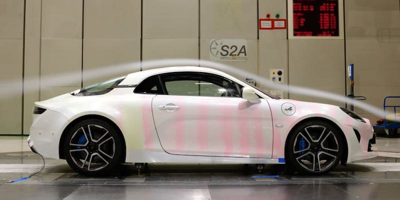 Wind tunnel testing is essential for honing the design of sports cars like the Alpine A110. — Picture courtesy of Renault