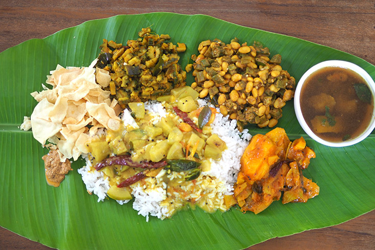 Enjoy a feast of well cooked vegetable dishes with rice, pappadums and 'rasam'.  – Pictures by Lee Khang Yi