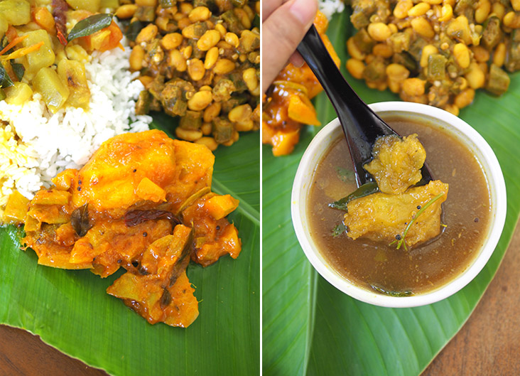Mango 'pachadi' has a spicy, sweet taste that complement the meal well (left). The 'rasam' is lovely with the spices to warm the body and acts as a great palate cleanser (right).