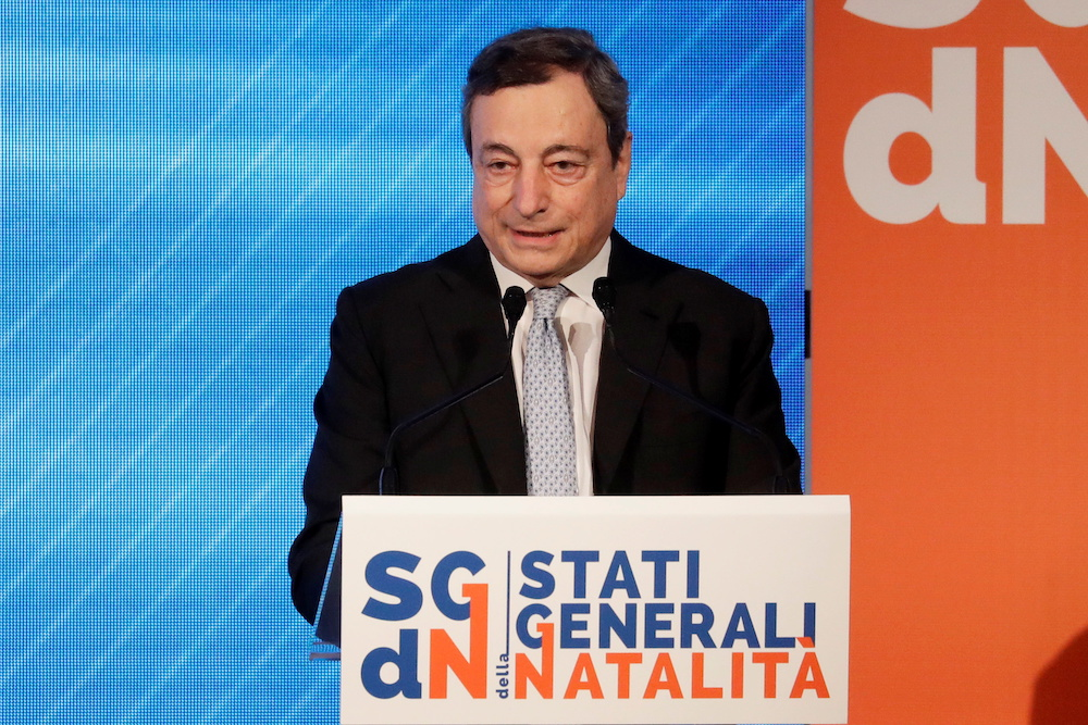 Italian Prime Minister Mario Draghi speaks at a conference on the Demographic Crisis in Rome, Italy May 14, 2021. ― Reuters pic