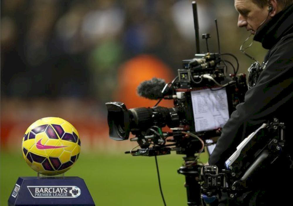 A television camera films the match ball before Liverpool's English Premier League match against Tottenham Hotspur at Anfield in Liverpool, England, February 10, 2015. — Reuters pic