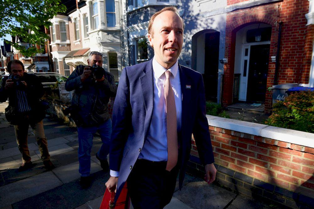 Britain's Health Secretary Matt Hancock leaves his house, in London, Britain May 27, 2021. — Reuters pic