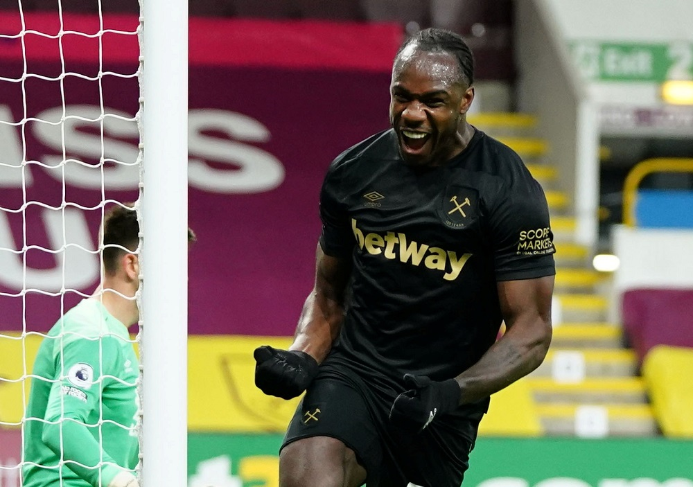 West Ham United's Michail Antonio celebrates after scoring the second goal against Burnley May 4, 2021. ― Pool via Reuters