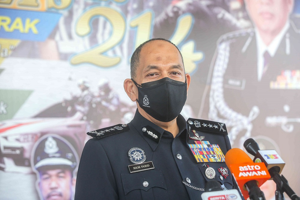 Perak police chief Datuk Mior Faridalathrash Wahid speaks to reporters in Ipoh May 28, 2021. ― Picture by Fahan Najib