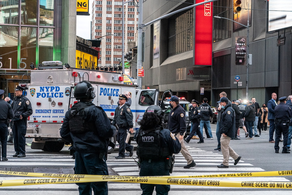 New York City police officers stand guard after a shooting incident in Times Square, New York, US, May 8, 2021. ― Reuters pic