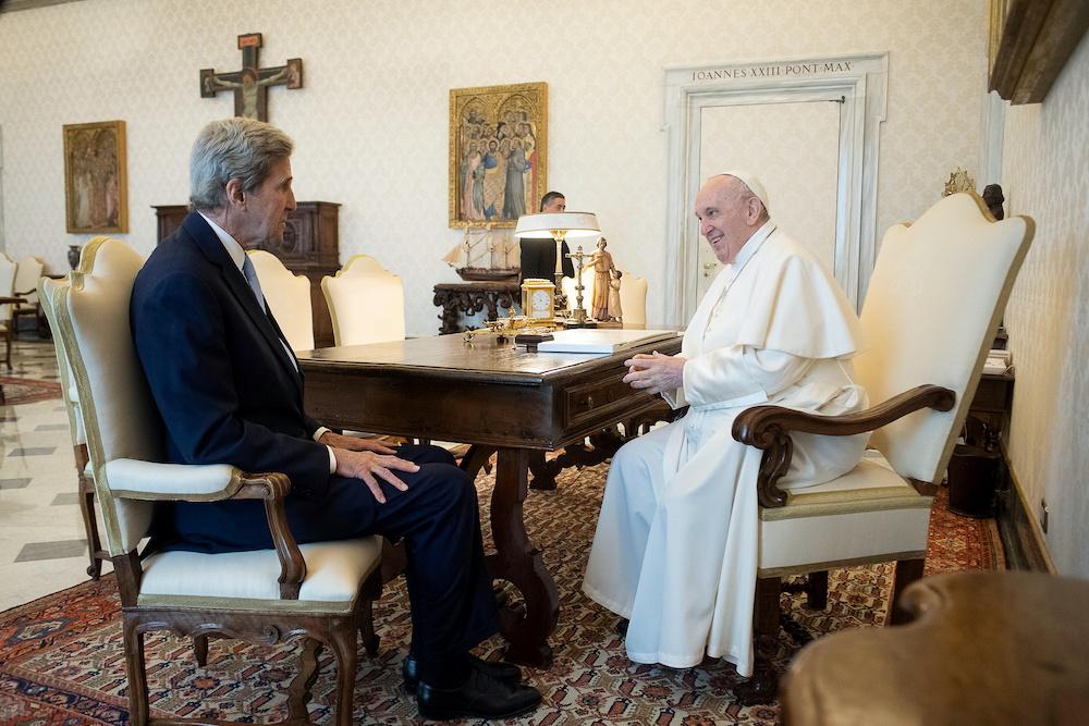 Pope Francis meets US climate envoy John Kerry at the Vatican May 15, 2021. ― Reuters pic