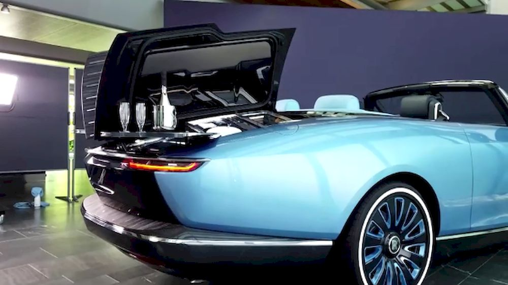 The Rolls-Royce convertible 'Boat Tail' car is so-called because its rear is shaped like a J-class racing yacht. — Videograb courtesy of Reuters / Rolls-Royce Motor Cars Limited