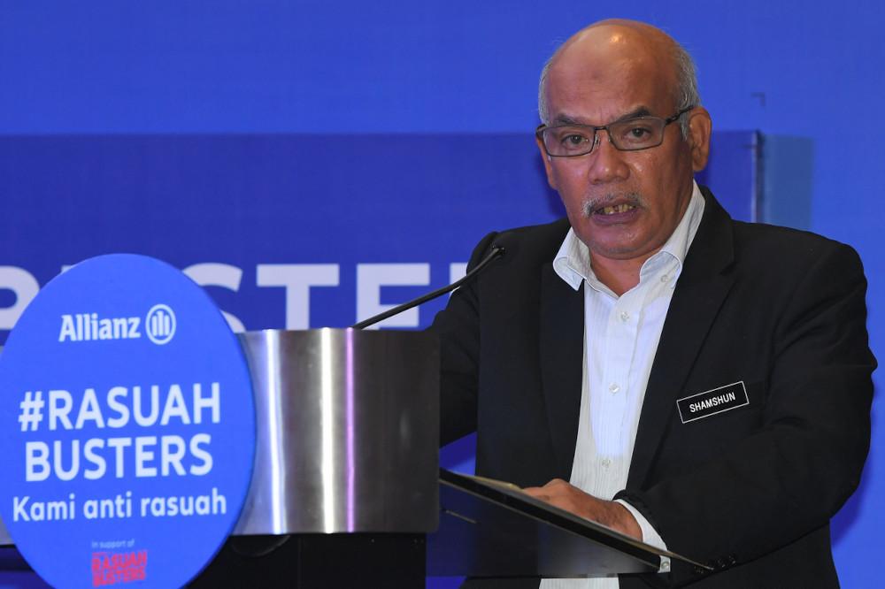 MACC deputy chief commissioner (prevention) Datuk Shamshun Baharin Mohd Jamil speaking at the launch of #RasuahBusters at a hotel in Kuala Lumpur, April 19, 2021. — Bernama pic