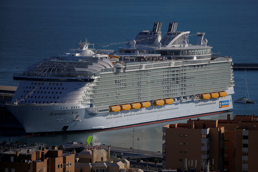 A view of the world's largest cruise ship of Royal Caribbean Cruises, the 362-metre-long Symphony of the Seas, during its world presentation ceremony, berthed at a port in Malaga, Spain March 27, 2018. — Reuters pic