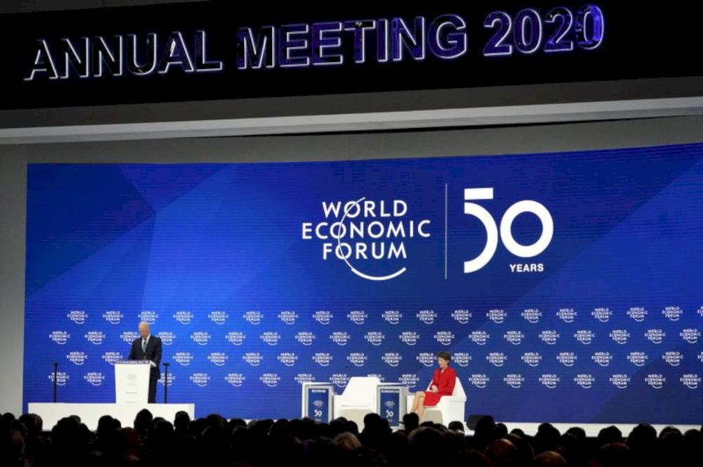 File picture shows World Economic Forum founder Klaus Schwab delivering welcoming remarks at the 50th World Economic Forum (WEF) annual meeting in Davos, Switzerland, January 21, 2020. — Reuters pic