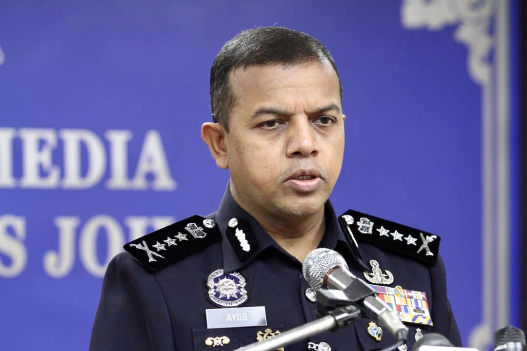 Johor police chief Datuk Ayob Khan Mydin Pitchay said the three policemen were brought before the Magistrate's Court today and charged under Section 385 of the Penal Code for extortion. — Picture by Ben Tan