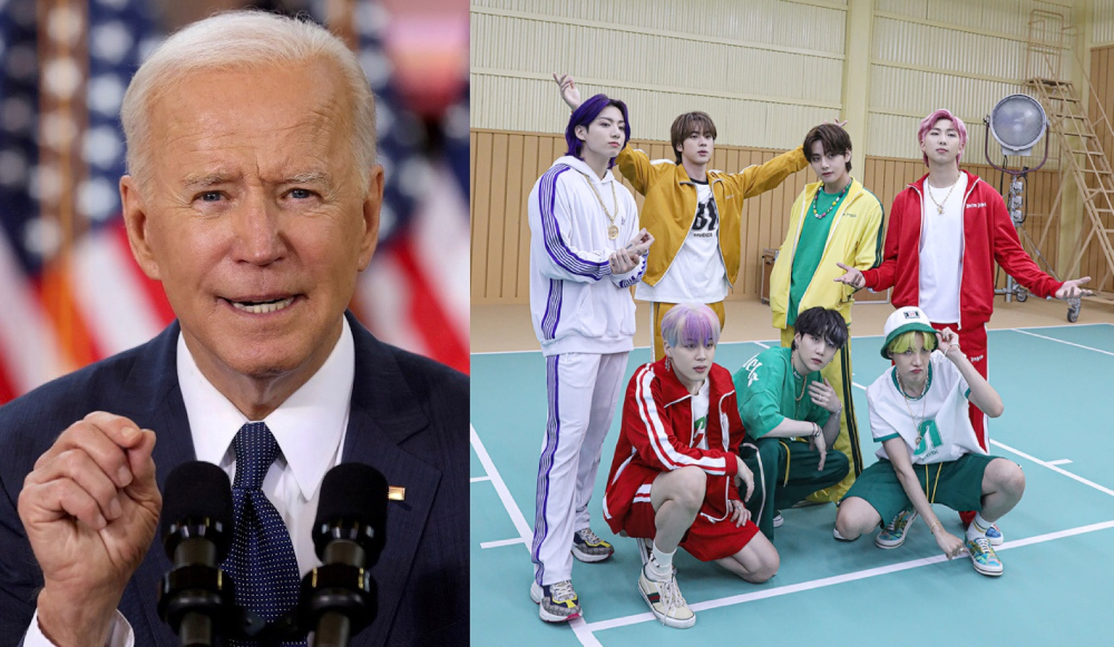 Biden gave a nod to K-pop's 'universal' appeal as bands like BTS continue to make waves across the world. — Pictures via Reuters and Facebook/bangtan.official