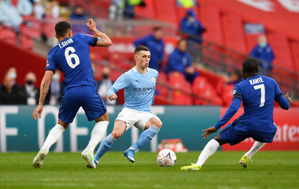 Manchester City's Phil Foden in action during the FA Cup semi final match against Chelsea at Wembley Stadium, London, April 17, 2021. — Reuters pic