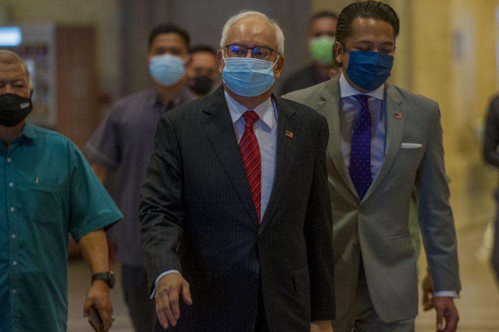 Datuk Seri Najib Razak arrives at the Court of Appeal in Putrajaya May 18, 2021. — Picture by Shafwan Zaidon