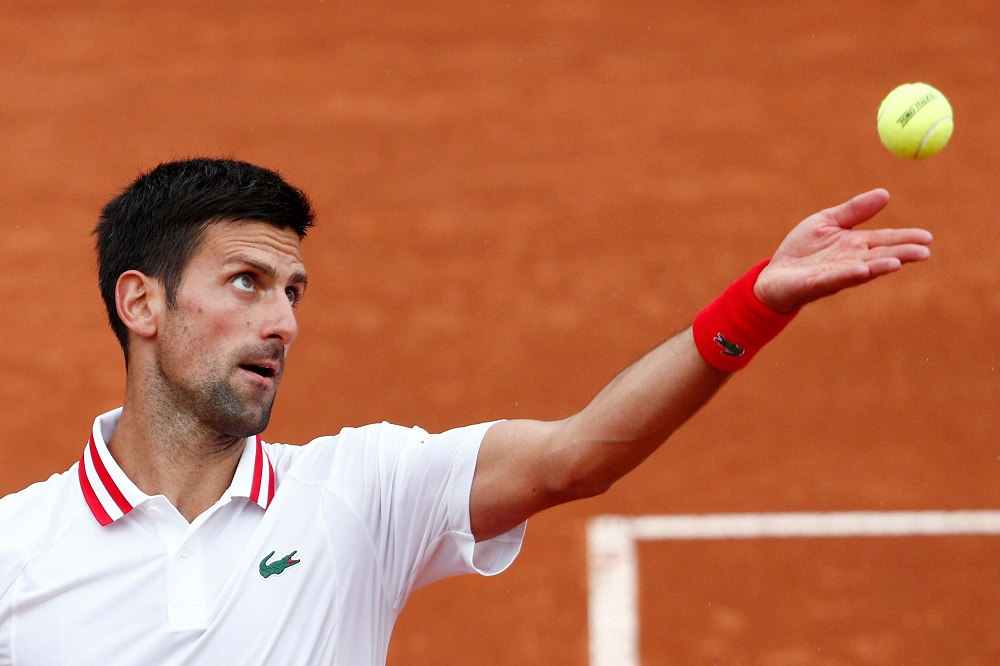 Serbia's Novak Djokovic in action during his second round match against Taylor Fritz of the US in Rome May 11, 2021. ― Reuters pic