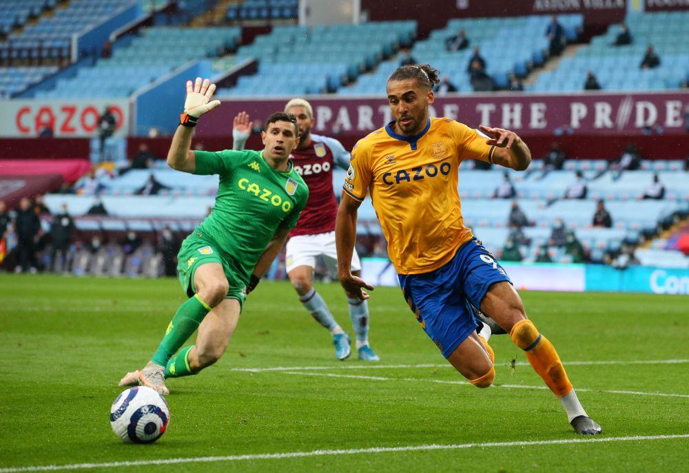 Everton's Dominic Calvert-Lewin in action with Aston Villa's Emiliano Martinez at Villa Park, Birmingham May 13, 2021. — Reuters pic