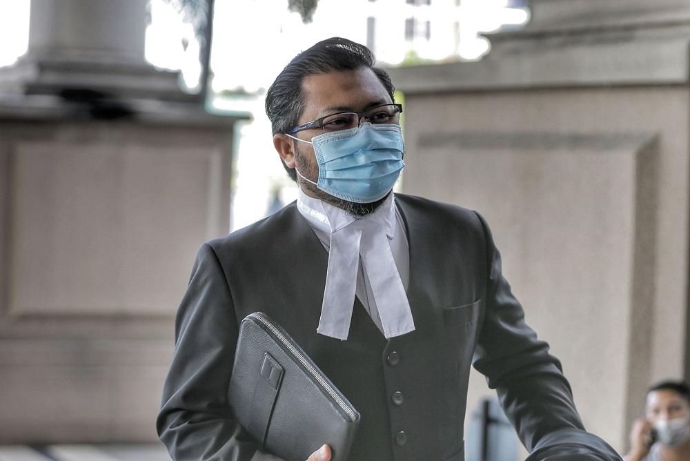 Datuk Seri Abdul Hadi Awang's lawyer Yusfarizal Yusoff (pic) is pictured at Kuala Lumpur High Court May 7, 2021. ― Picture by Ahmad Zamzahuri