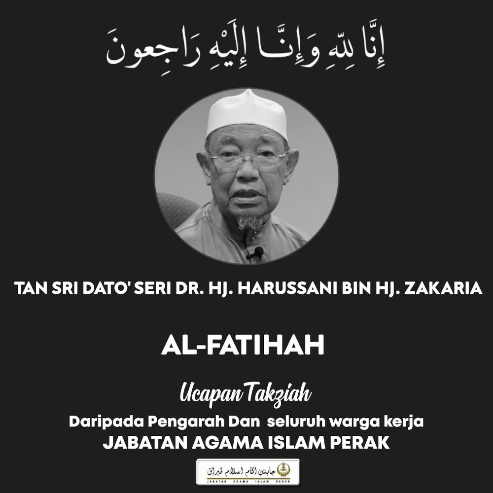 Perak Mufti Tan Sri Harusanni Zakaria died today as confirmed by JAIPk in a Facebook post. — Picture via Facebook/Jabatan Agama Perak