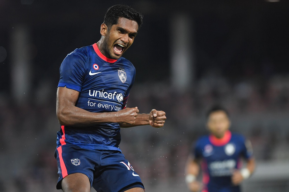 JDT's Hariss Harun celebrates after scoring a goal against KL City FC, April 30, 2021. ― Bernama pic