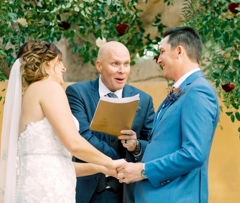 Geno Bonnalie officiating the wedding for Joel Dahmen and wife Lona. ― Picture courtesy of Joel Dahmen
