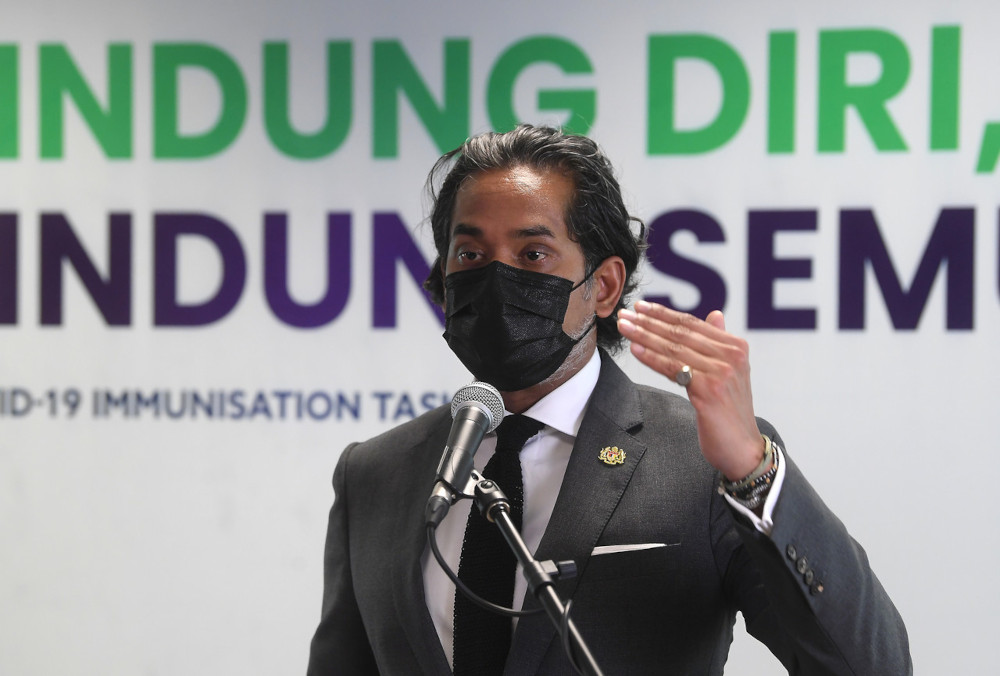 Coordinating Minister for National Covid-19 Immunisation Programme Khairy Jamaluddin holds a press conference on update of the National Covid-19 Immunisation Programme after the meeting of the Special Committee for Ensuring Access to Covid-19 Vaccine Supply in Putrajaya, May 3, 2021. — Bernama pic