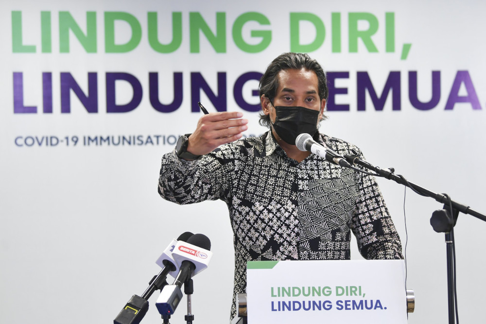 Minister of Science, Technology and Innovation Khairy Jamaluddin speaks during a press conference on the Hotspots Identification for Dynamic Engagement system in Putrajaya, May 4, 2021. — Bernama pic