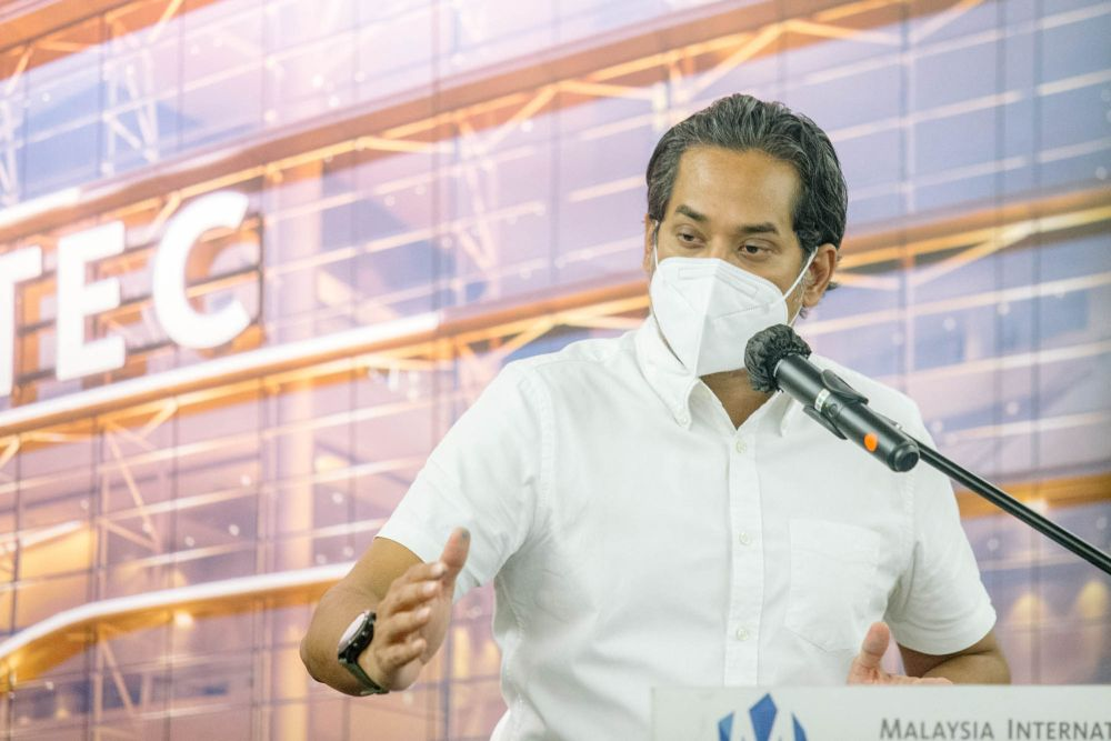 Minister of Science, Technology and Innovation Khairy Jamaluddin speaks during a press conference at the Malaysia International Trade and Exhibition Centre in Kuala Lumpur May 30, 2021. —  Picture by Firdaus Latif