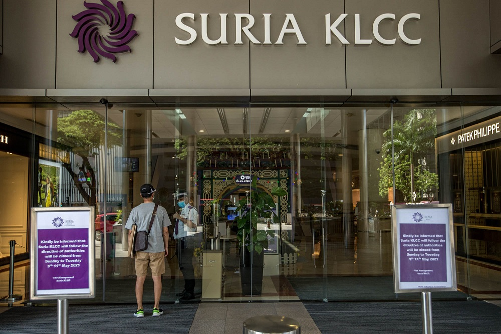 A general view outside Suria KLCC during the three-day closure rule for premises flagged as potential hotspots under the government's HIDE system in Kuala Lumpur May 9, 2021. ― Picture by FIrdaus Latif