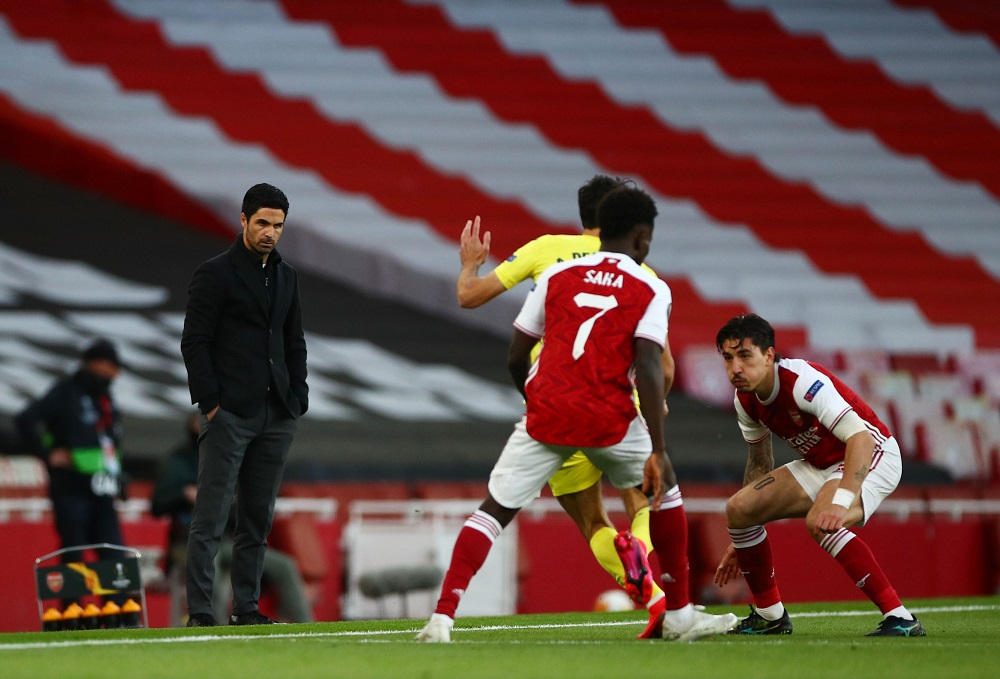 Arsenal manager Mikel Arteta during the match against Villarreal May 7, 2021. ― Reuters pic