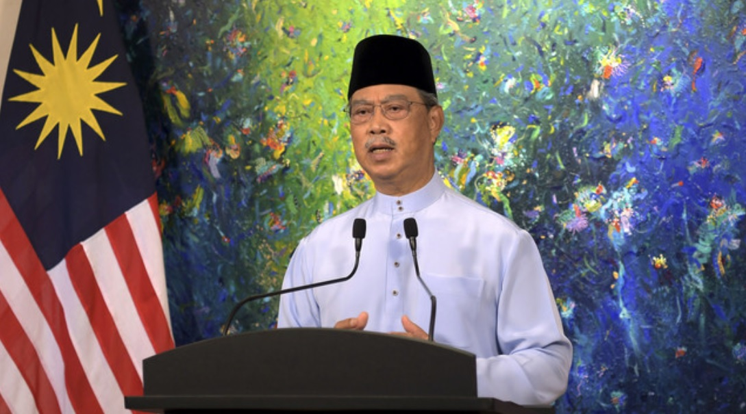 Prime Minister Tan Sri Muhyiddin Yassin delivering a special speech in conjunction with Aidilfitri celebration, May 12, 2021. — Bernama pic