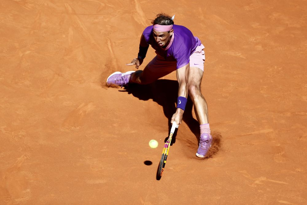 Spain's Rafael Nadal in action during his round of 32 match against Spain's Carlos Alcaraz Garfia  May 5, 2021 at the Caja Magica May 5, 2021. — Reuters pic