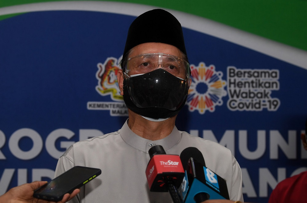 Health director-general Tan Sri Dr Noor Hisham Abdullah speaks during a press conference after visiting Putrajaya Hospital in conjunction with the Aidilfitri celebration, May 13, 2021. ― Bernama pic