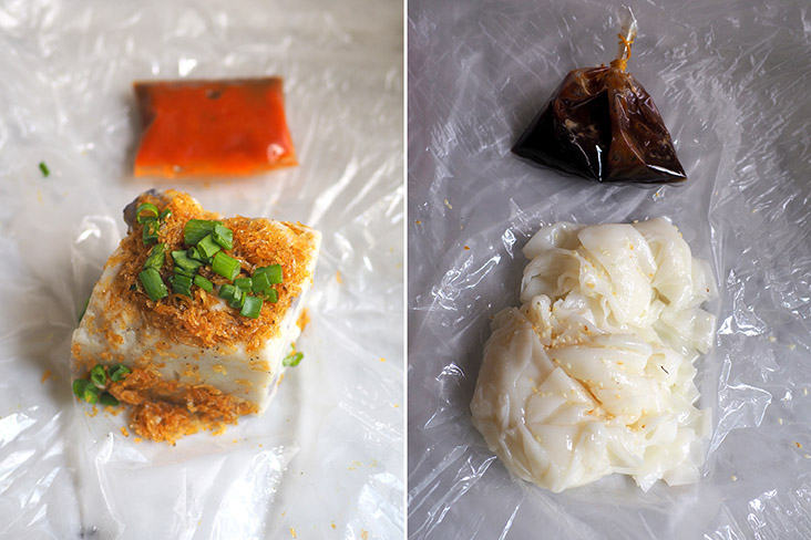 The yam cake here tends to be the firm type (left). The 'chee cheong fun' is unrolled so you get to eat each sheet's texture (right)
