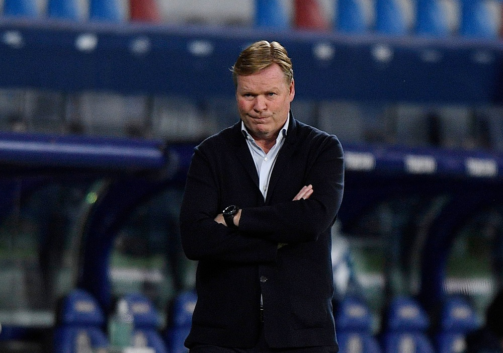 Barcelona coach Ronald Koeman seen before the match against Levante May 12, 2021. ― Reuters pic