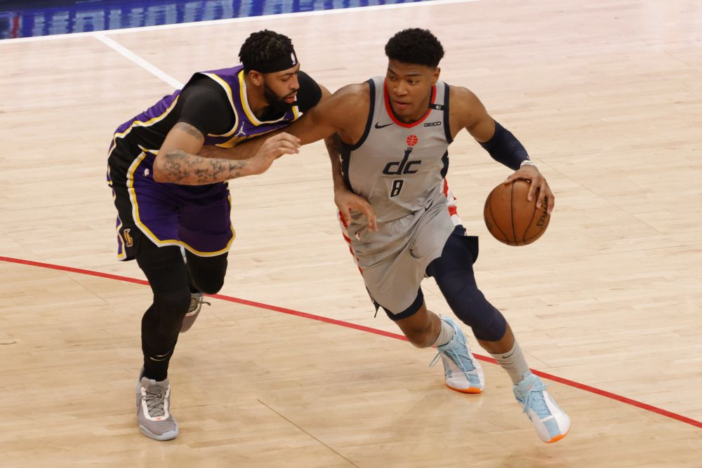 Washington Wizards forward Rui Hachimura (8) drives to the basket as Los Angeles Lakers forward Anthony Davis (3) defends in the second quarter at Capital One Arena April 28, 2021. — Reuters pic
