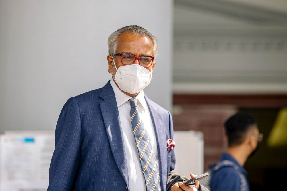 Lawyer Tan Sri Muhammad Shafee Abdullah is pictured at the Kuala Lumpur Court Complex May 24, 2021. — Picture by Firdaus Latif